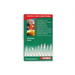 GIMA STAINLESS STEEL BLADES - Nº 10/11/12/15/20/21/22/23/24 - (BOX OF 100 PCS)