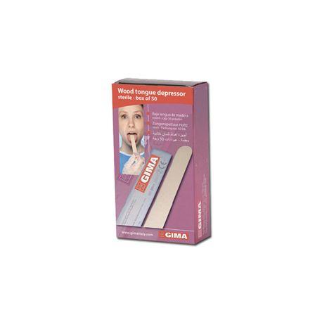 GIMA WOOD TONGUE DEPRESSOR - STERILE (BOX OF 50 PCS)