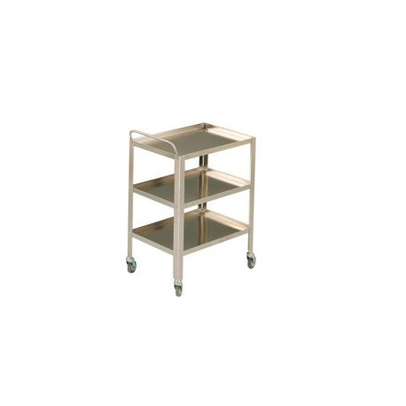 MORETTI STAINLESS STEEL TROLLEY WITH THREE SHELVES CM70X50X80H