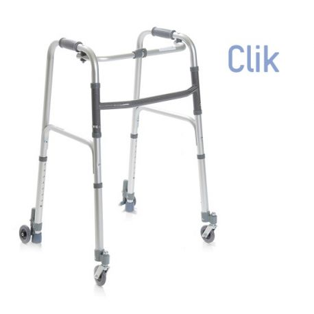 MORETTI FOLDING WALKER WITH 2 WHEELS AND 2 TIPS WITH AUTO-LOCKING SYSTEM