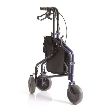 MORETTI FOLDING ROLLATOR IN PAINTED STEEL - 3 WHEELS WITH BASKET - CRYO