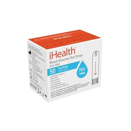 iHEALTH TIRAS DE GLUCEMIA PARA GLUCÓMETRO iHEALTH  BG1 Y BG5 (50 UDS)