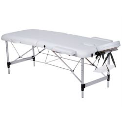 GIMA 2-SECTION ALUMINIUM MASSAGE TABLE - BLACK - BLUE - WHITE