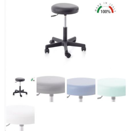 MORETTI SWIVEL STOOL WITH PLASTIC BASE - 140MM GAS PISTON - DIFFERENT COLORS