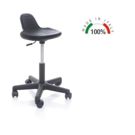 MORETTI SWIVEL STOOL WITH PLASTIC BASE AND SEAT WITH BACKREST