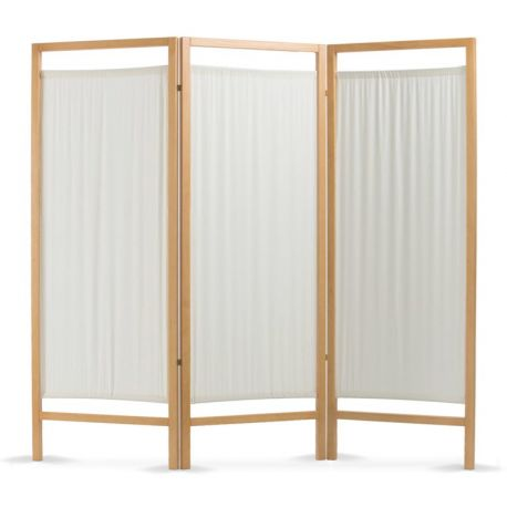 WOODEN SCREEN 3 DOORS IN COTTON