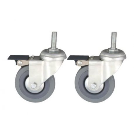 MORETTI RUBBER WHEELS WITH BRAKE (PAIR) FOR WALKERS RP753/54/55/56C/F