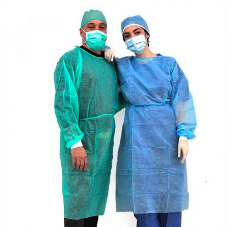 ALMAMEDICAL DISPOSABLE GOWN IN TNT WITH ELASTIC CUFFS - LIGHT BLUE