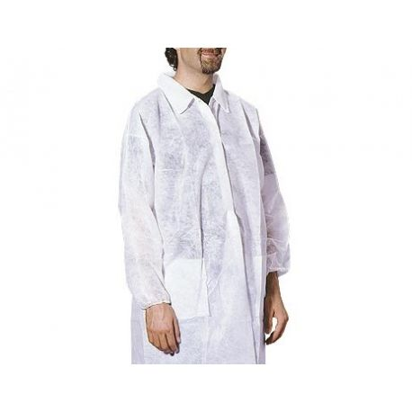 GARDENING LAB COAT WITH DOUBLE POCKET - WHITE OR BLUE - FRONT VELCRO CLOSURE