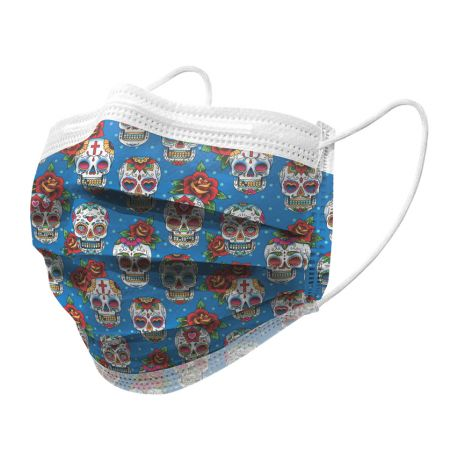 GIMA GISAFE 98% FILTERING SURGEON MASK 3 PLY TYPE IIR WITH LOOPS - ADULT - SKULLS – FLOWPACK