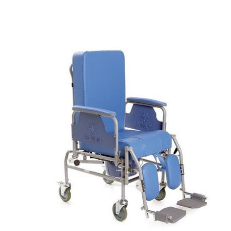 MORETTI TOILET PAINTED STEEL CHAIR - KOMODA SERIES - REMOVABLE AND RECLINING BACK - FOOTREST - Ø 12.5 CM WHEELS - VARIOUS WIDTHS