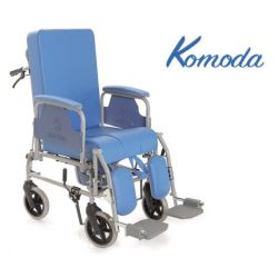 TOILET CHAIR IN PAINTED STEEL KOMODA SERIES - WITH RECLINING BACKREST - WHEELS Ø 20 CM