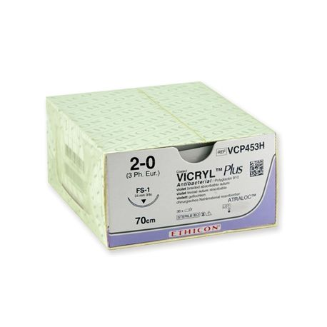 SUTURA ABSORBIBLE  ETHICON VICRYL PLUS - 2/0 AGUJA 24 MM