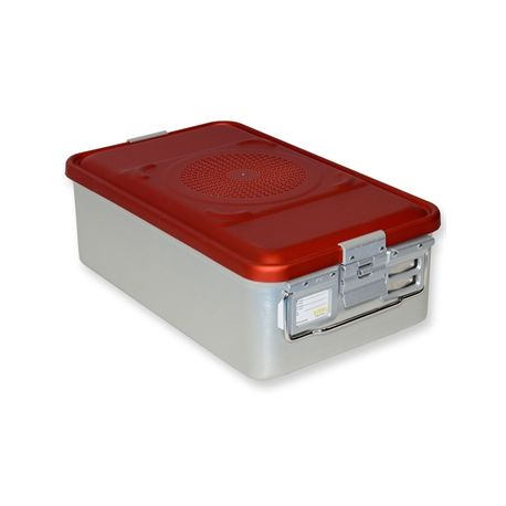 GIMA MEDIUM CONTAINER WITH FILTER - NON-PERFORATED - VARIOUS HEIGHTS - RED