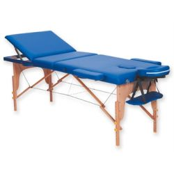 GIMA 3-SECTION WOODEN MASSAGE TABLE - BLUE - CREAM