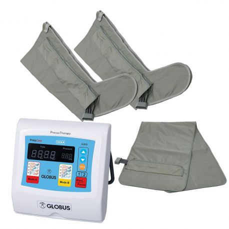 GLOBUS PRESSOTHERAPY PRESSCARE G200M-3 WITH TWO LEGS + ABDOMINAL GIRDLE + FREE PAIR OF TNT LEGS